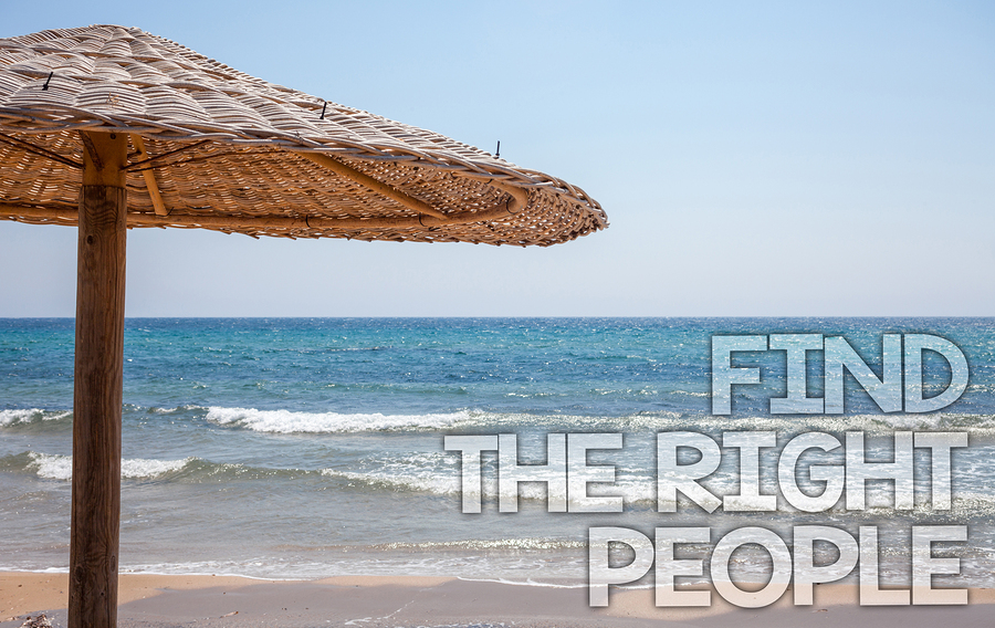 Handwriting text writing Find The Right People. Concept meaning choosing perfect candidate for job or position Blue beach water Thatched Straw Umbrellas Message Ideas Thoughts Reflection